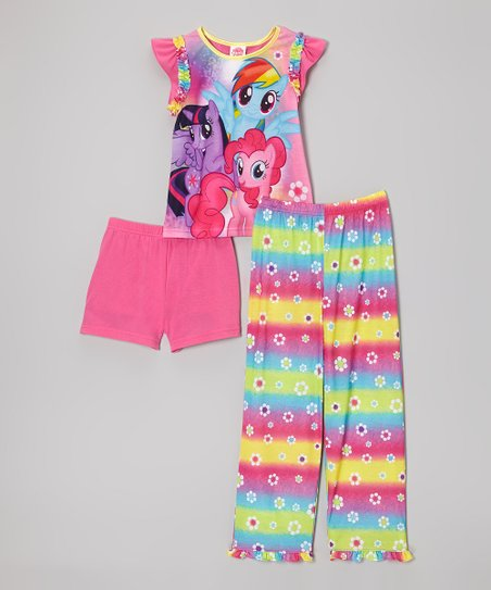 Pink Rainbow Stripe My Little Pony Pajama Set - Girls