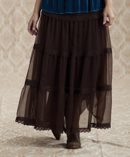 Brown Sheer Fenway Chiffon Skirt - Women