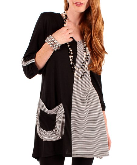 Black & White Stripe Two-Tone Pocket Tunic