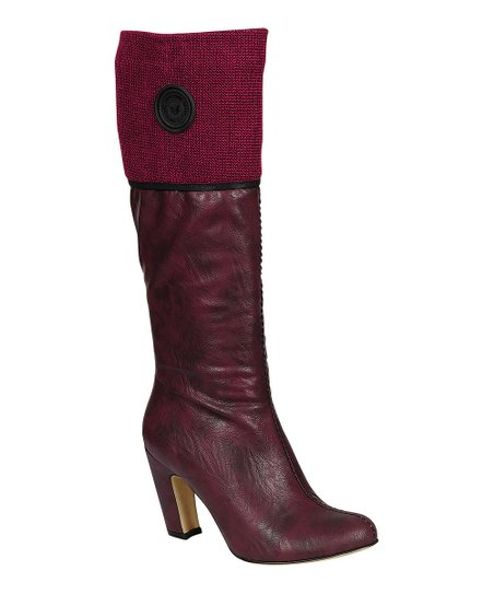 Burgundy Alta Button Boot