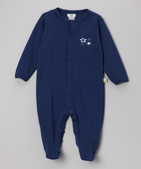 Navy Embroidered Star Footie - Infant