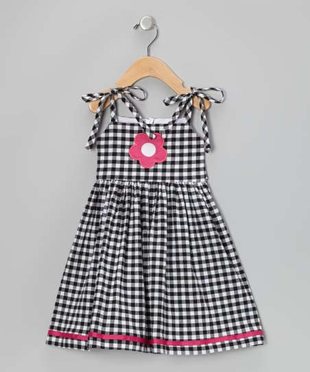 Black & White Gingham Tie Strap Dress - Infant & Toddler