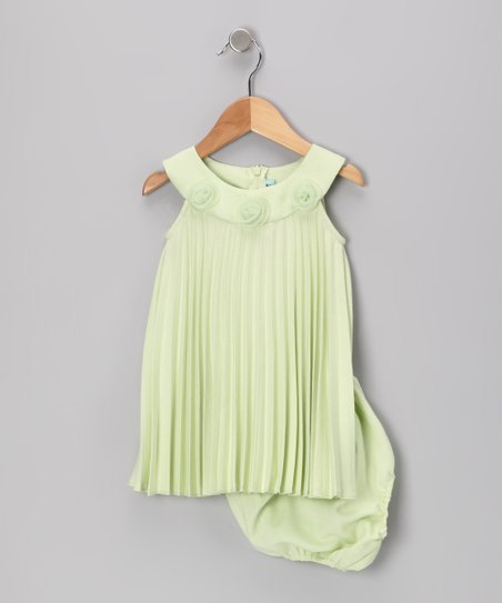 Lime Pleated Yoke Dress & Diaper Cover - Infant