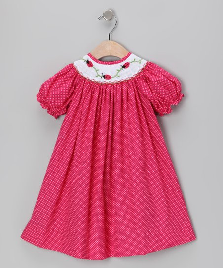 Fuchsia Ladybug Smocked Bishop Dress - Toddler