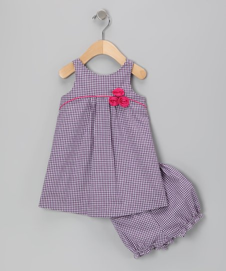 Purple Gingham Rosette Dress & Bloomers - Infant