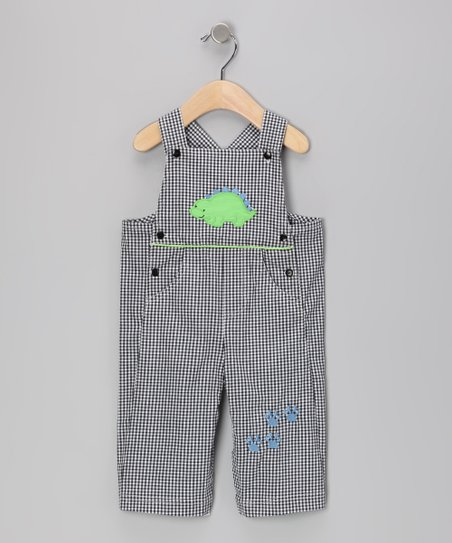 Black Gingham Dino Overalls - Infant