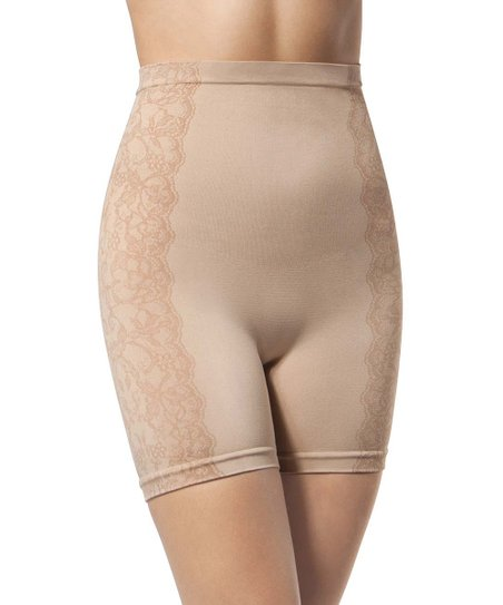 Tan Lace Side Shaper Boyshorts - Women