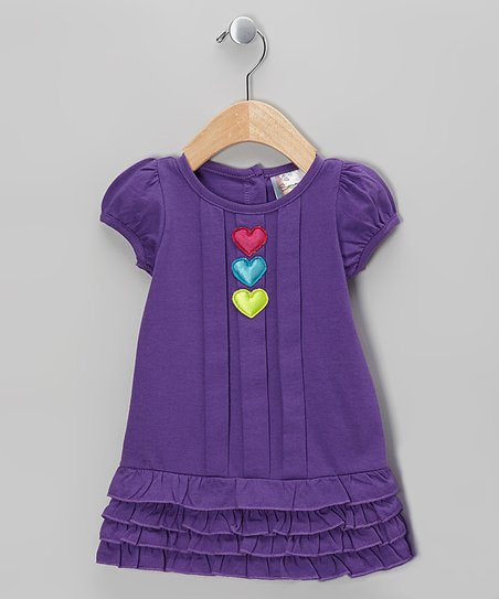 Purple Heart Ruffle Dress - Girls