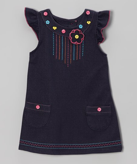 Denim Blue Angel-Sleeve Dress - Infant & Toddler