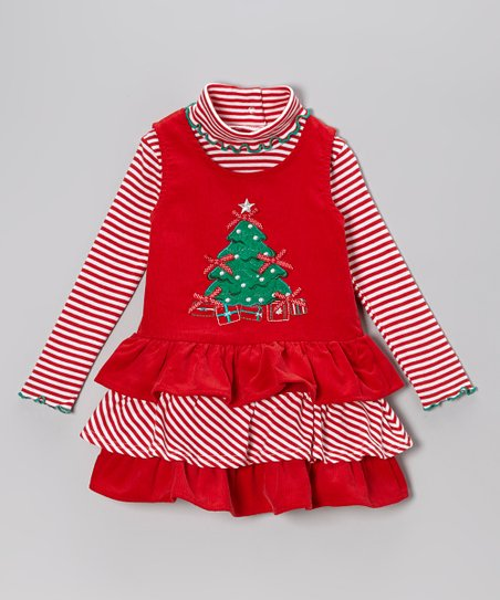Red Stripe Turtleneck & Christmas Tree Jumper - Infant