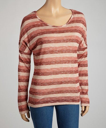 Dark Rust Heathered Stripe Long-Sleeve Top