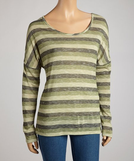 Dark Olive Heathered Stripe Long-Sleeve Top