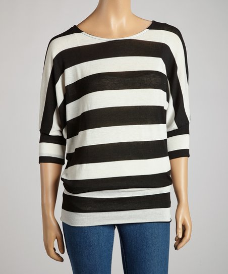Black & Ivory Stripe Dolman Tunic