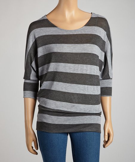 Charcoal & Heather Gray Stripe Dolman Tunic