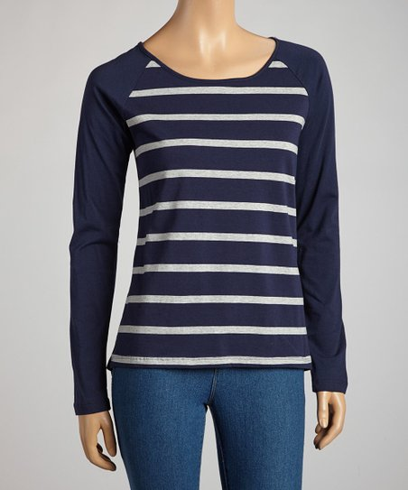Navy & Heather Gray Stripe Long-Sleeve Top