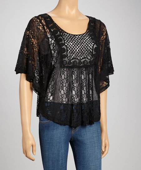 Black Lace Cape-Sleeve Top