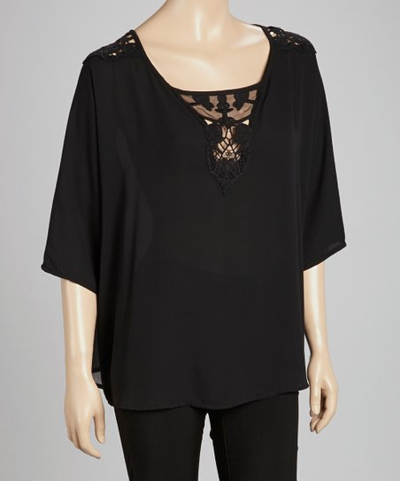 Black Lace-Panel Cape-Sleeve Top