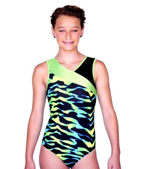 Green & Black Tiger Madison Leotard & Hair Tie - Girls