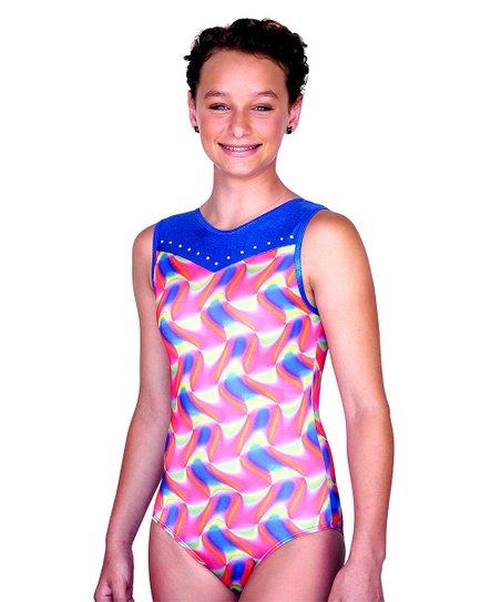 Pink & Blue Watercolor Christina Leotard - Girls