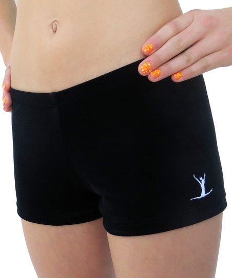 Black Embroidered Gym Star Shorts - Toddler & Girls