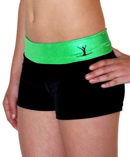 Black & Green Gym Star Hipster Shorts - Toddler & Girls