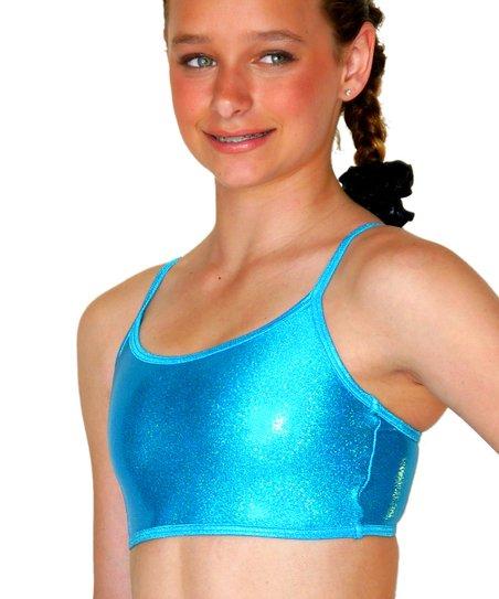 Aqua Sparkle Gym Star Sports Bra - Girls