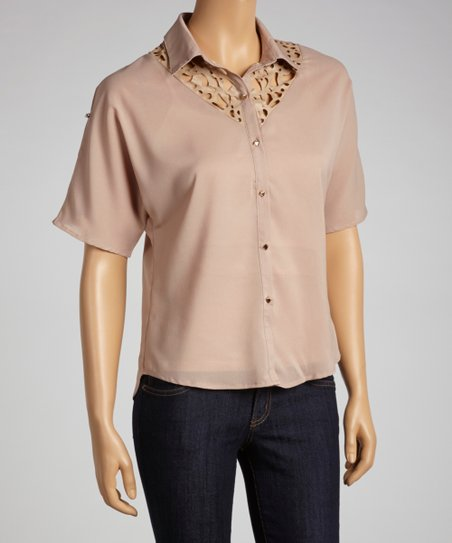 Khaki Sheer Button-Up