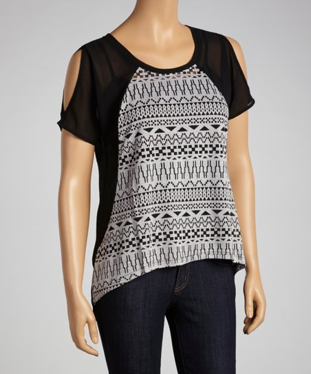 Gray & Black Shirttail Top