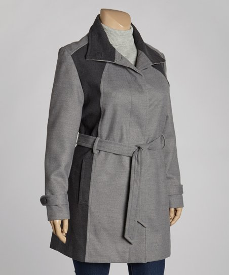 Charcoal & Gray Two-Tone Coat - Plus