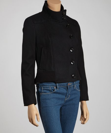 Black Wool-Blend Bomber Jacket - Petite