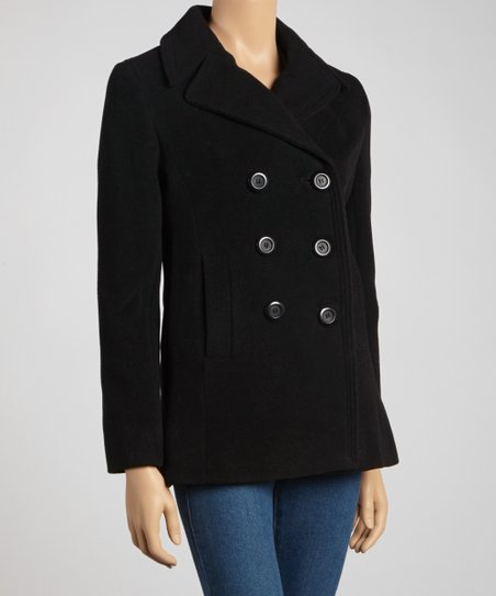 Black Notch-Collar Wool-Blend Peacoat - Petite