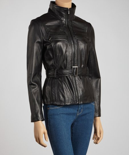 Black Belted Leather Jacket - Petite