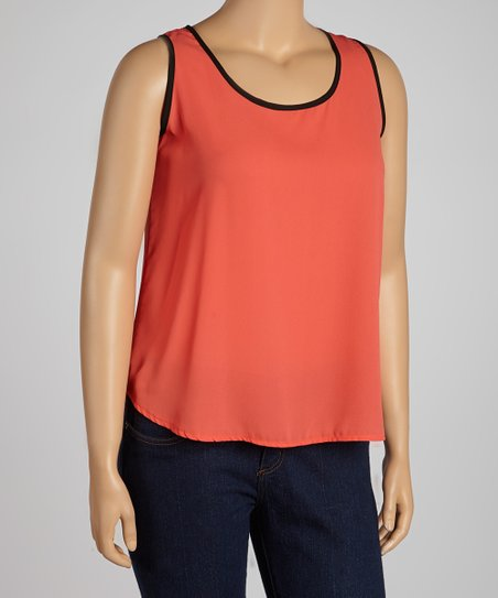 Orange & Black Cutout Tank - Plus