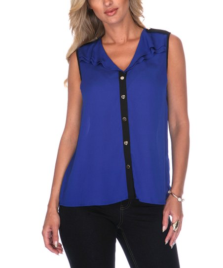 Blue & Black Chiffon Sleeveless Button-Up - Women