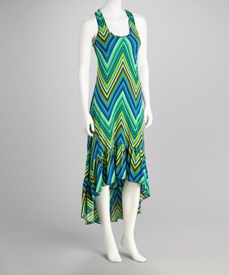 Green Zigzag Racerback Hi-Low Dress