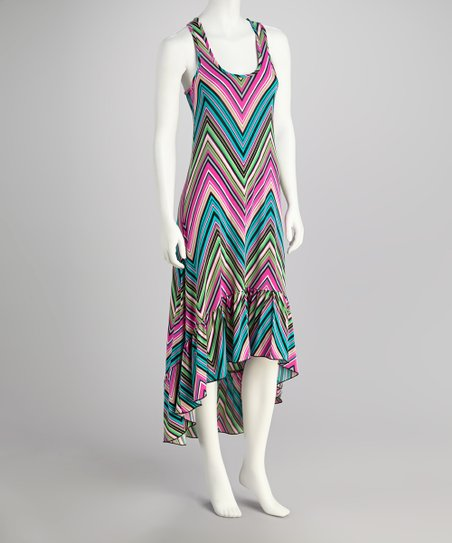 Pink Zigzag Racerback Hi-Low Dress