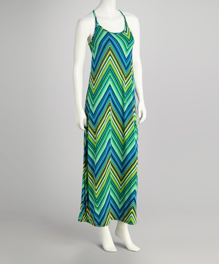 Green Zigzag Maxi Dress