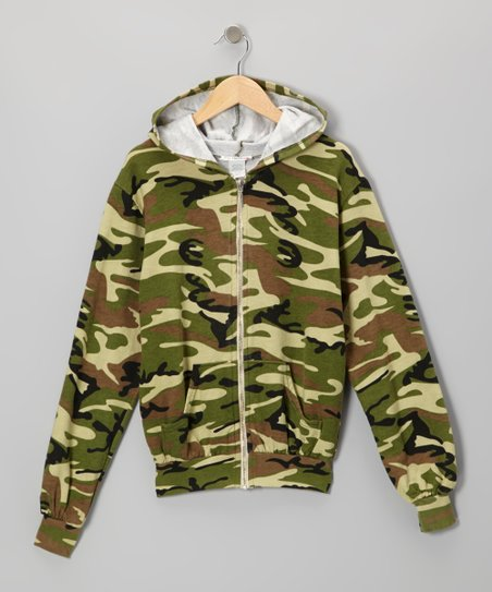 Green Camo Zip-Up Hoodie