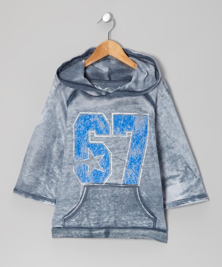 Light Gray & Blue '67' Dolman Hoodie
