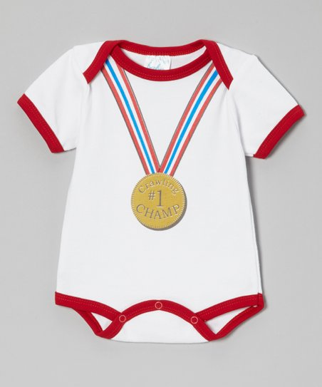 White & Red '#1 Crawling Champ' Bodysuit