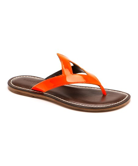 Orange Asteroid Patent Geometrics Thong Sandal