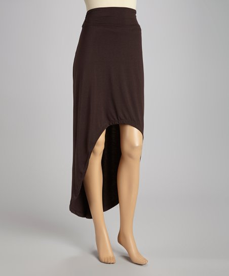 Dark Brown Hi-Low Maxi Skirt
