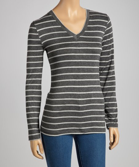 Charcoal & Heather Gray Stripe V-Neck Top