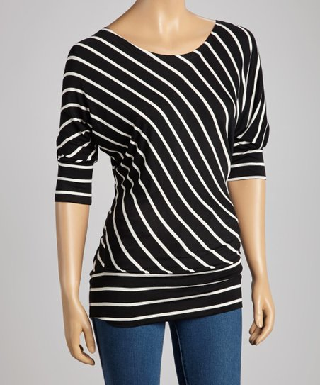 Black & White Diagonal Stripe Top