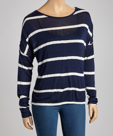 Navy & Ivory Stripe Top