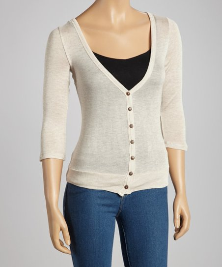 Beige V-Neck Cardigan