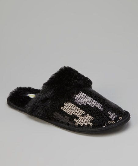 Black Sequin Slippers - Women