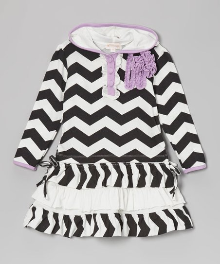 Black & White Zigzag Hooded Dress - Infant & Girls