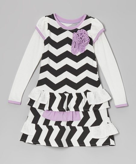 Black Zigzag Ruffle Drop-Waist Dress - Toddler & Girls