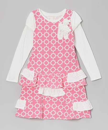 Pink Quatrefoil Ruffle Drop-Waist Dress - Toddler & Girls